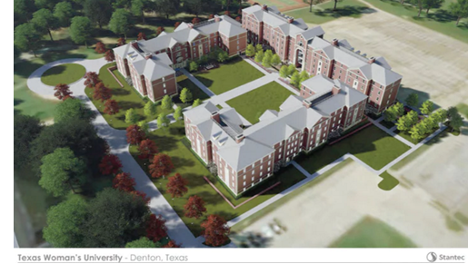 rendering of new TWU campus buildings