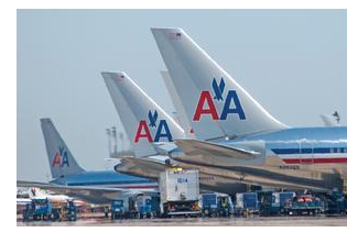 Planes with the American Airlines logo on the tail.