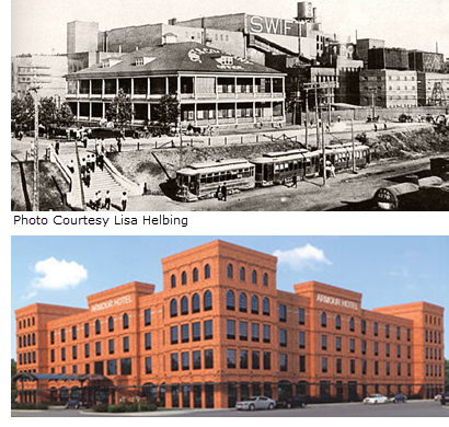 Photo of old Armour Packing Plant and Rendering of Future Armour Hotel