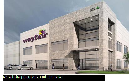 Rendering of Wayfair's new distribution hub