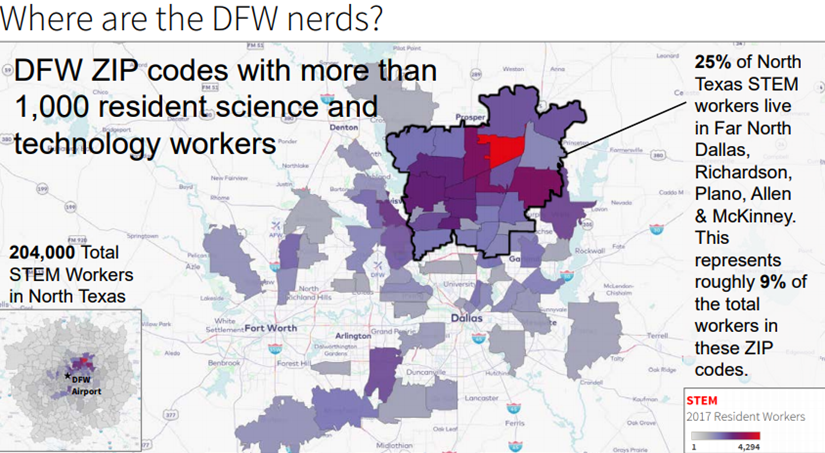 Map of the DFW ZIP codes with more than 1,000 resident science and technology workers.