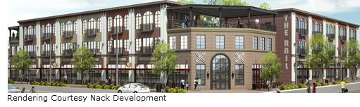 rendering of the Patios at the Rail