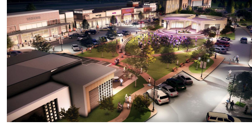 rendering of new retail stores coming to Rayzor Ranch