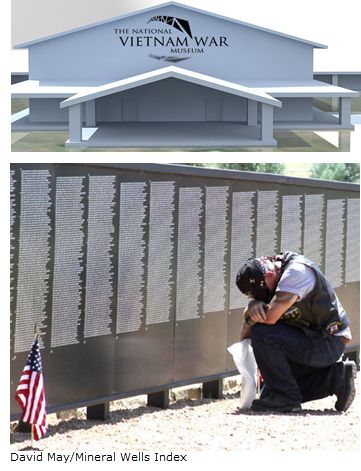 Rendering of The National Vietnam War Museum and Picture of veteran at the Vietnam Veterans Memorial replica