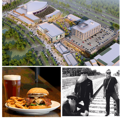 rendering of completed Toyota Music Factory, picture of restaurnt burger and beer, and image of ZZtop