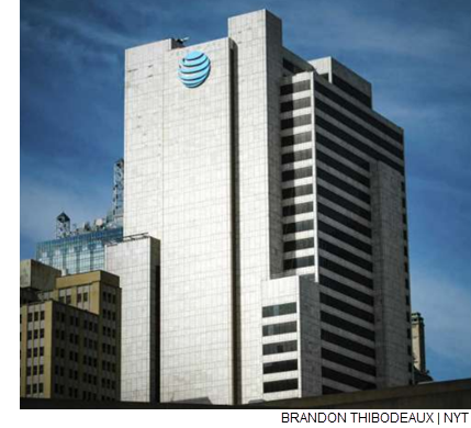 FILE -- The AT&T corporate headquarters building in downtown Dallas, Nov. 21, 2017. AT&T is planning to offer mobile 5G service by year's end to customers in Dallas and Waco, Texas, as well as in Atlanta, Georgia, the company said in a release late Tuesday.