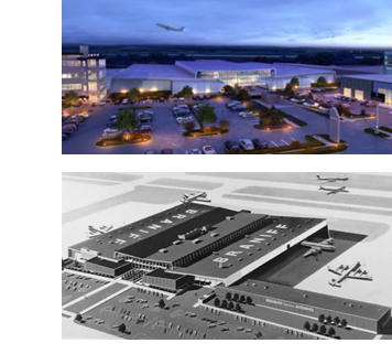 Rendering of Braniff HQ redevelopment and image of original Braniff HQ design from the 1960s