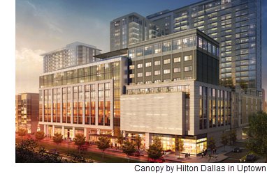 A rendering of the Canopy by Hilton hotel in Uptown, which opened in July 2018.