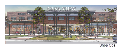 A rendering of the upgraded exterior to Casa View in northeast Dallas.