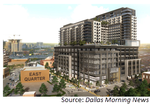 Rendering of the East Quarter high rise