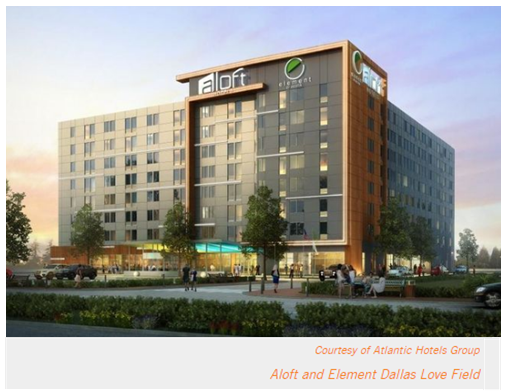 Aloft and Element Hotel Dallas Love Field with hotel story