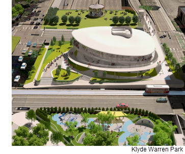 A rendering of the completion project of Klyde Warren Park.