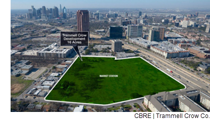 Aerial map of the site of Trammell Crow's Market Station retail development.