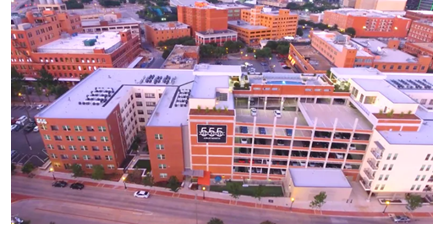 An aerial view of the 555 Ross Avenue apartments, which were purchased by a fund of Mesirow Financial.