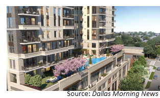 Rendering of the 20-story Novel Turtle Creek apartment tower