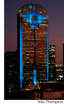 Chase Tower Shining Shades Of Blue On Dallas Skyline