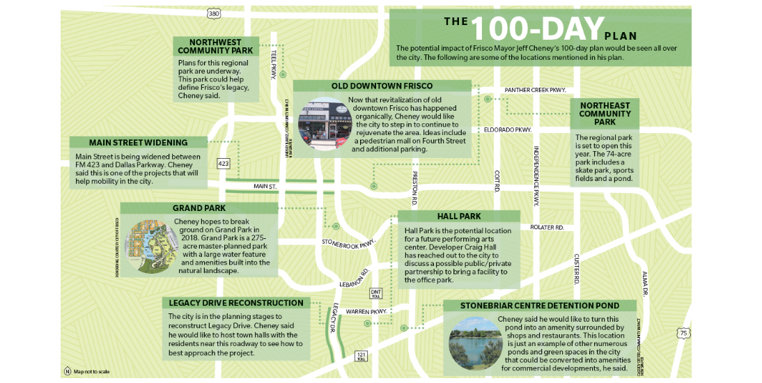 Locations mentioned in Cheney's 100-day plan