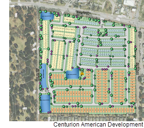 A site plan of the Tennyson Village development.