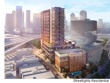 A rendering of The Hamilton from Streetlights Residential. The 26-story apartment tower is part of the Epic Development in Deep Ellum, and will have views of Downtown Dallas.