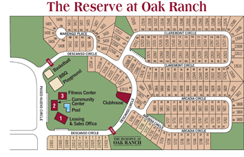 Layout of The Reserve at Oak Ranch.