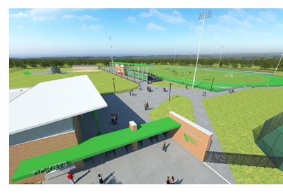 Rendering of new soccer field and track and field track