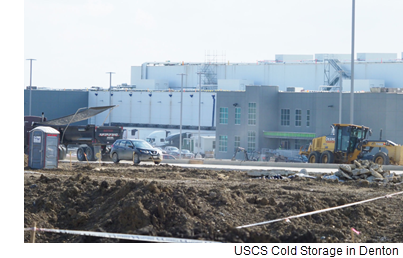 Construction takes place at United States Cold Storage. The company provides its clients with refrigerated and frozen food warehousing and transportation. USCS opened a 224,000-square-foot distribution center Sept. 1 in western Denton on Jim Christal Road.