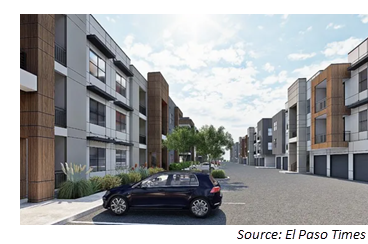 Rendering of three-story apartment complex