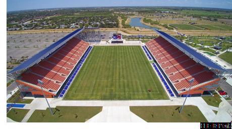 Aerial view of H-E-B Park in Edinburg, Texas.