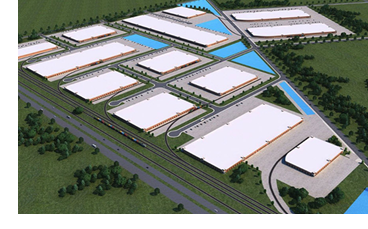 Rendering of the business park.