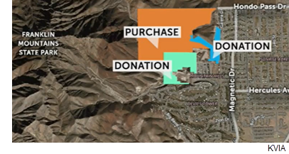 A map highlighting the areas bought by or donated to the city of El Paso.
