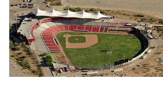 An aerial view of Cohen Stadium.