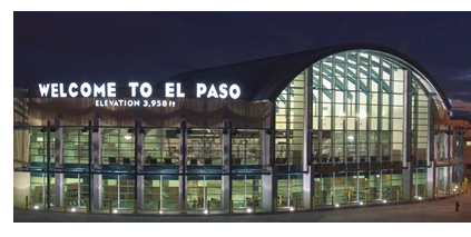 El Paso international Airport Main building. Sign on the outside reads: Welcome to El Paso, Elevation 3,958 ft.
