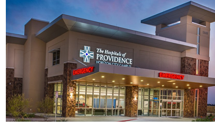 An image of the Horizon City Campus of Hospitals of Providence in eastern El Paso.