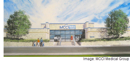 An architectural drawing showing MCCI's Eastside location at 10435 Vista Del Sol.