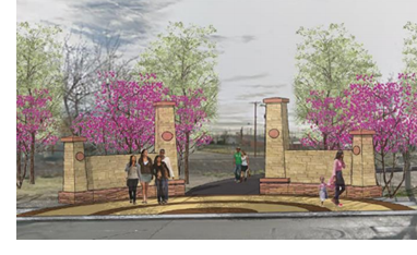 Rendering of the trail entrance.