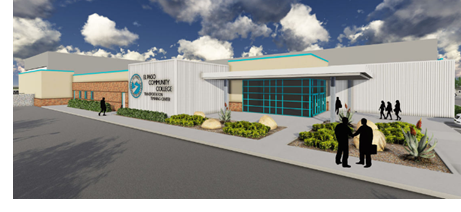 A rendering of the workforce training building at the Valle Verde campus