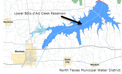 map of where the Lower Bois d'Arc Creek reservoir will be