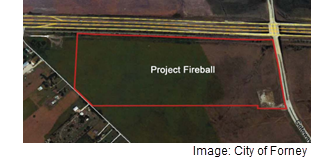 An outline of the land which will be redeveloped as part of Project Fireball, falling south of US 80 west of Gateway Blvd. The image comes from City of Forney documents.