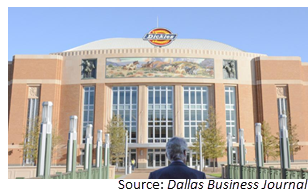 Front of Dickies arena on sunny day