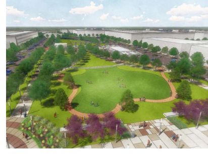 Rendering of a Park in The Railhead Development