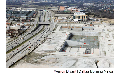 An aerial view of the Wade Park development site.