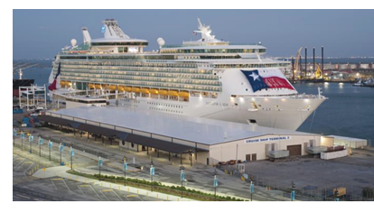 Cruise ship docked at Galveston port