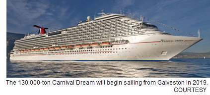 Carnival cruise in Galveston port