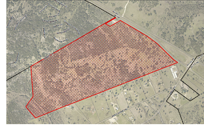 An aerial view indicating the re-zoned land.