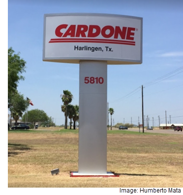 A Cardone Industries sign in Harlingen.