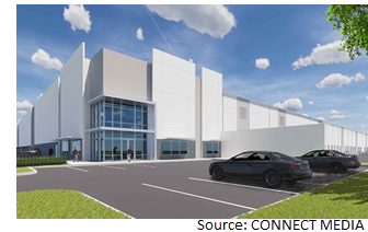 Rendering of 59 Logistics Center during the day.