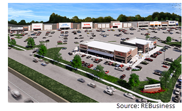 Rendering of the retail center.