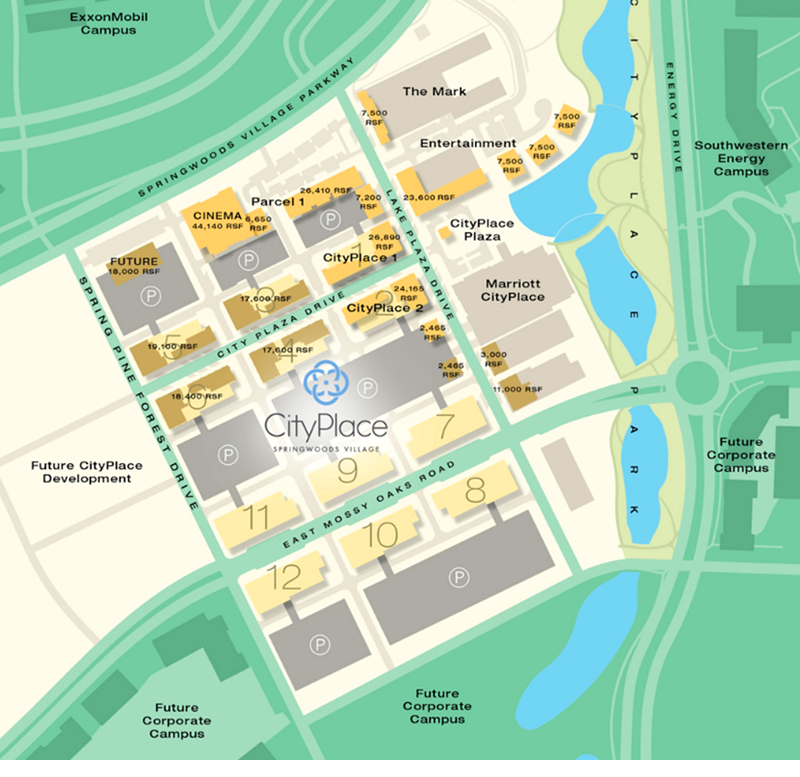 CityPlace is within Springwoods Village, 2,000-acre master-planned community anchored by Exxon Mobil Corp.'s new corporate campus.
