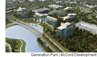A rendering of a portion of Generation Park from McCord Development.