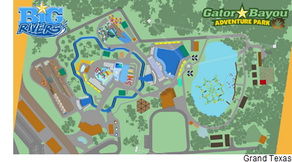 Site map of the Big Rivers and Gator Bayou parks within Grand Texas.